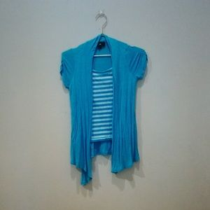 Blue Striped Blouse With Attached Cardigan